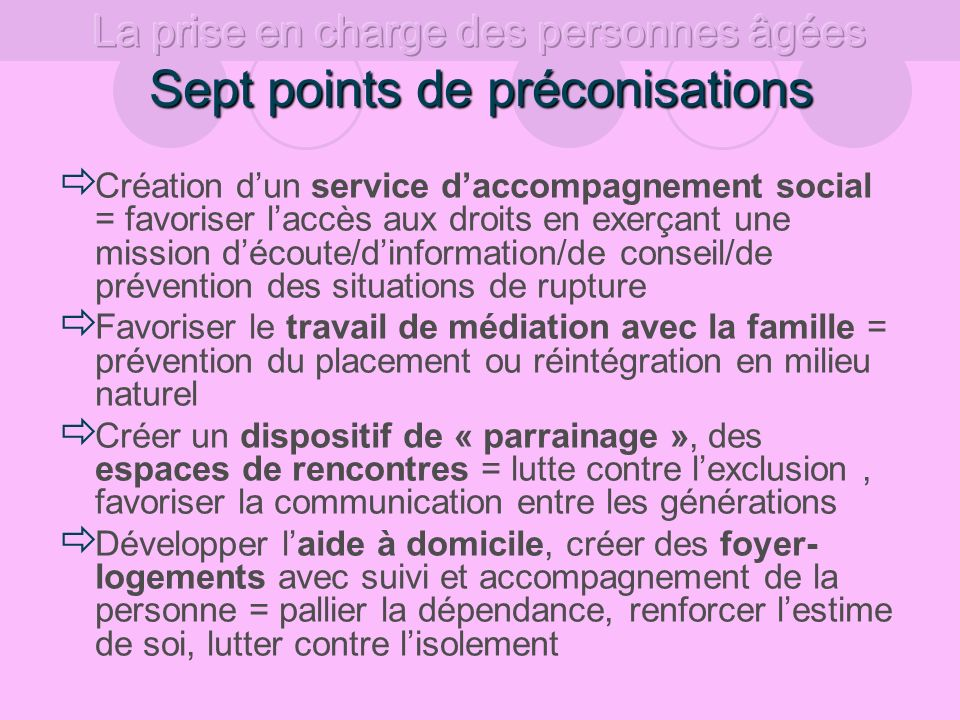Sept points de préconisations