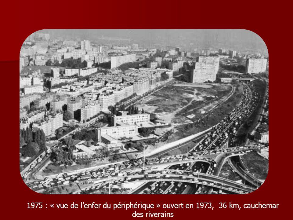 1975 : « vue de l'enfer du périphérique » ouvert en 1973, 36 km, cauchemar des riverains