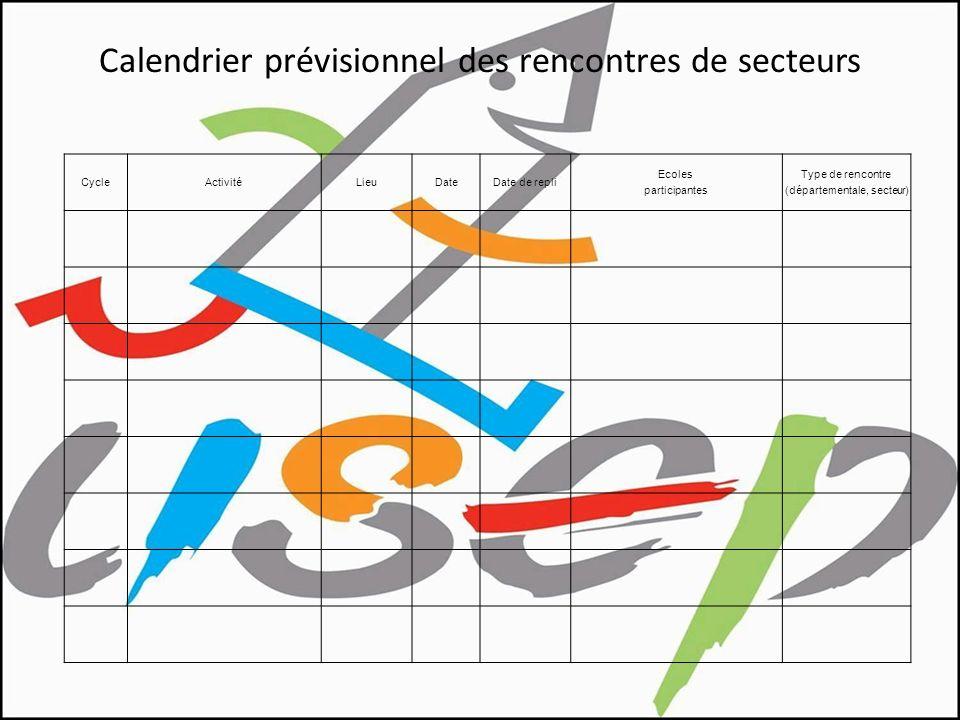 Calendrier prévisionnel des rencontres de secteurs