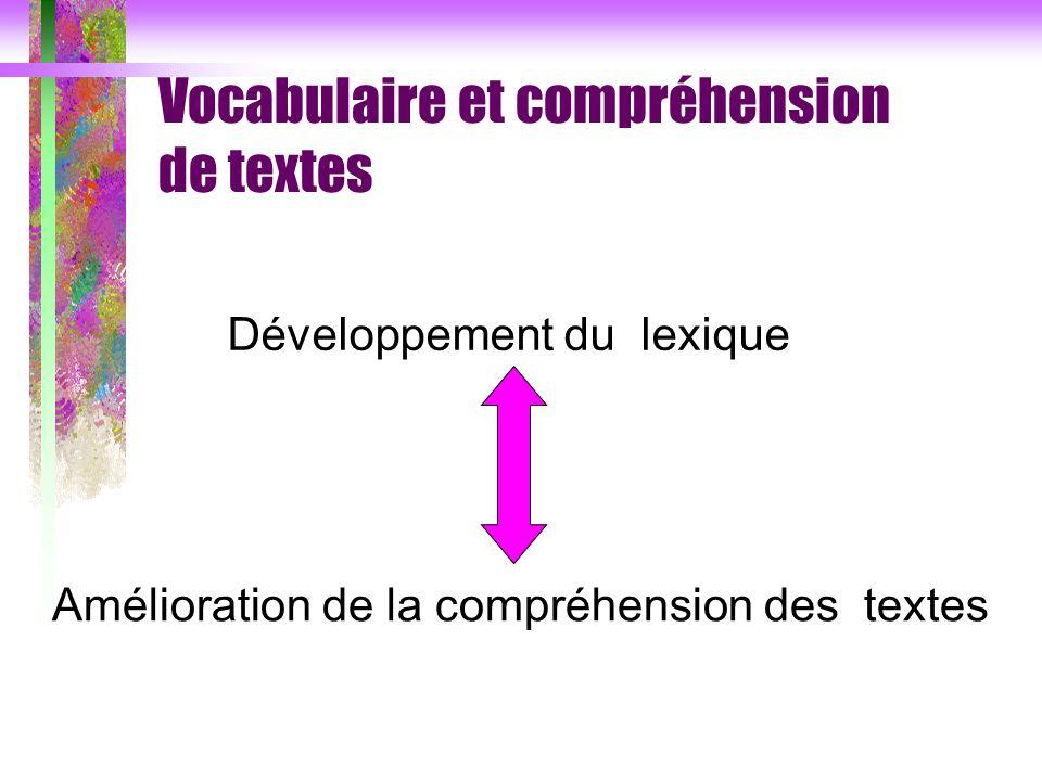 Vocabulaire et compréhension de textes