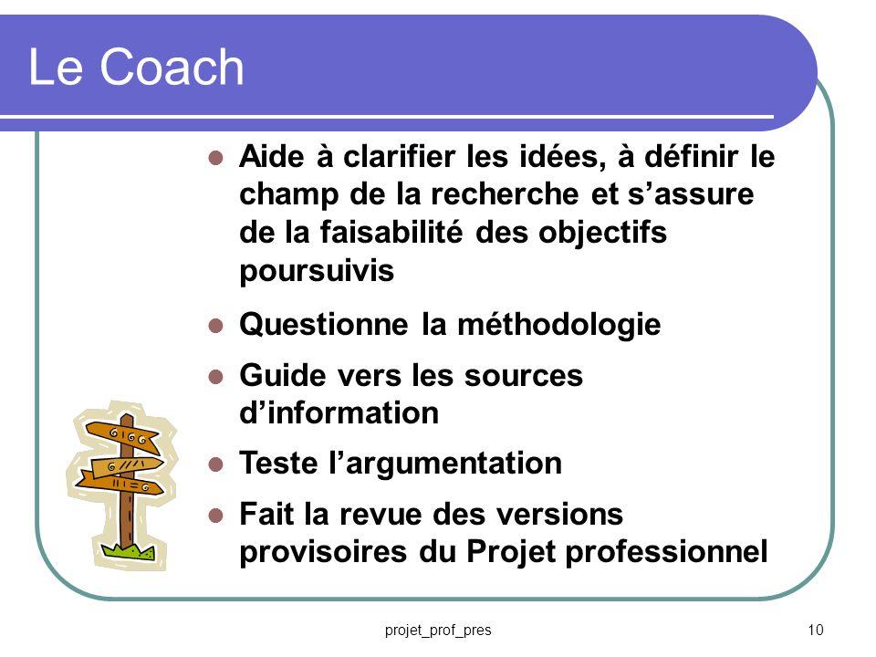 Le Coach Aide à clarifier les idées, à définir le champ de la recherche et s'assure de la faisabilité des objectifs poursuivis.