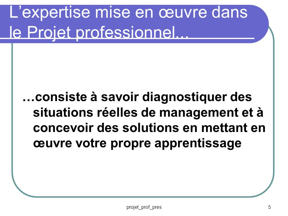 L'expertise mise en œuvre dans le Projet professionnel...