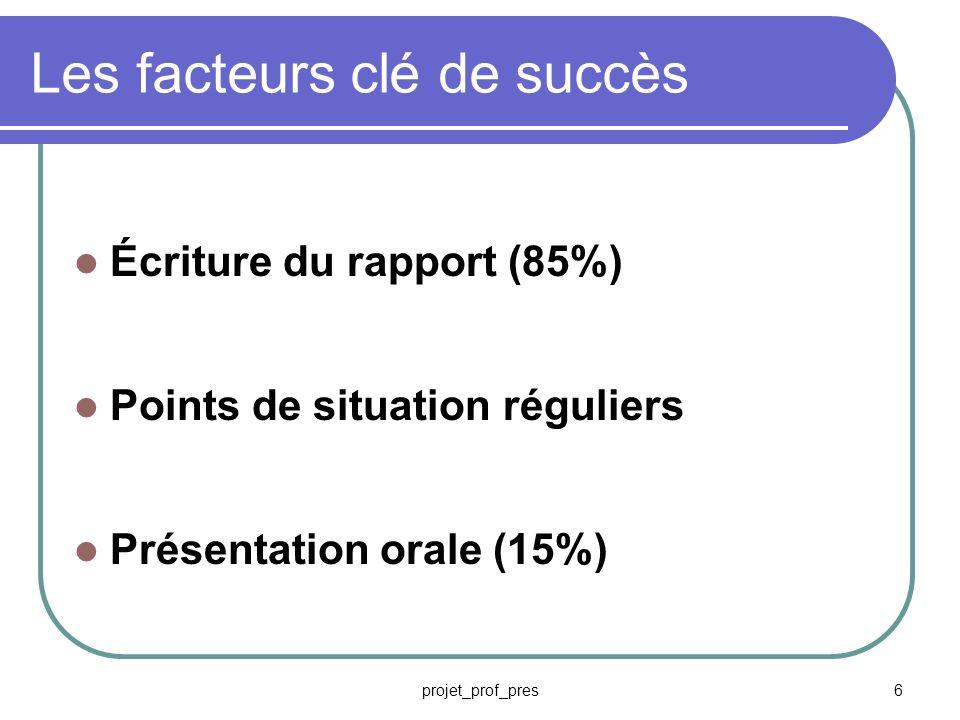 Les facteurs clé de succès