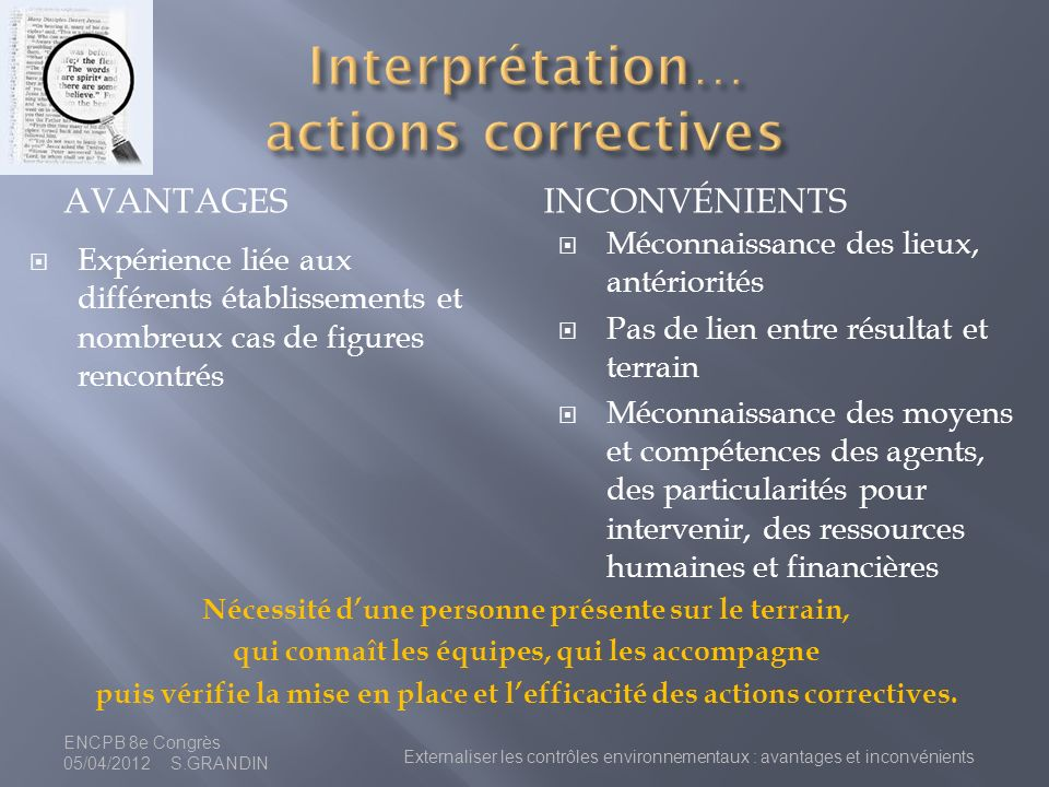 Interprétation… actions correctives