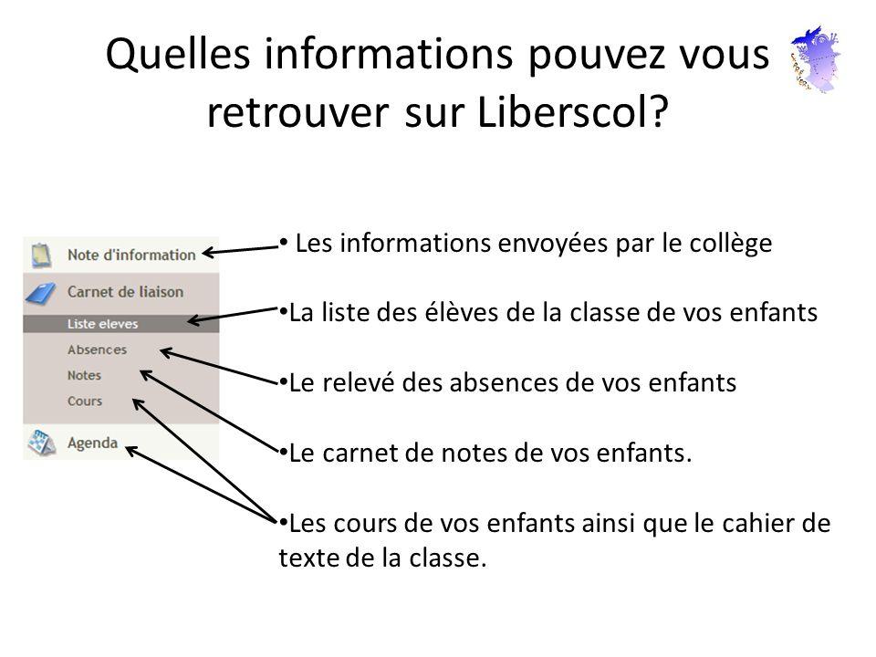 Quelles informations pouvez vous retrouver sur Liberscol