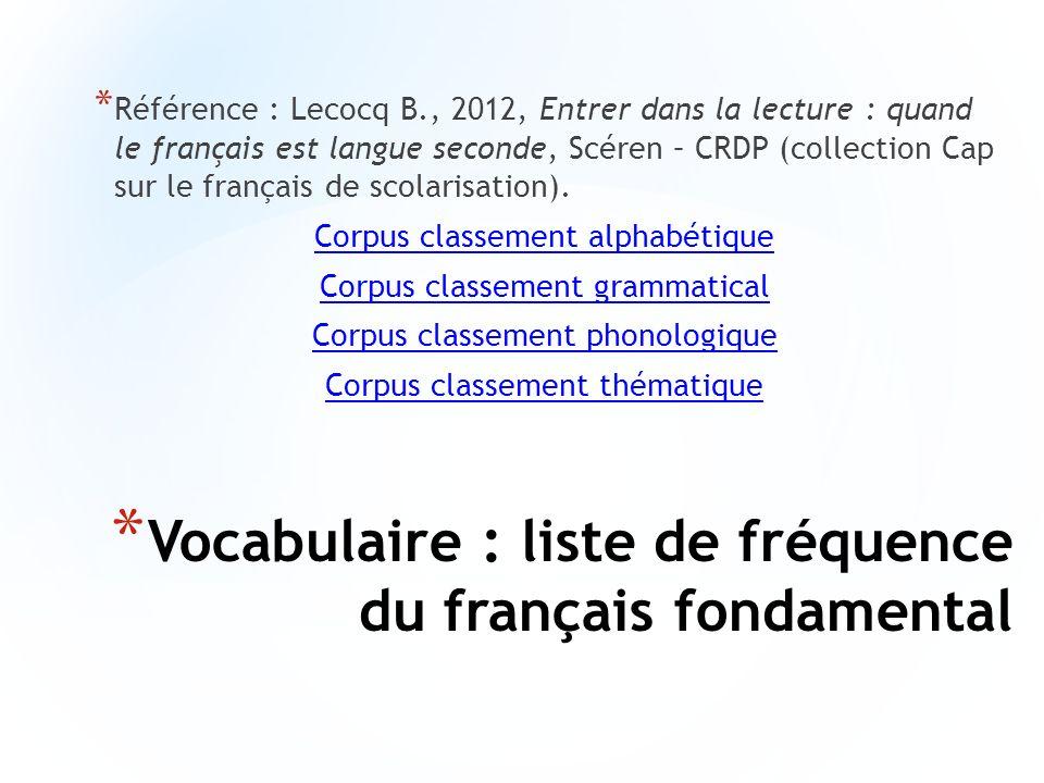 Vocabulaire : liste de fréquence du français fondamental