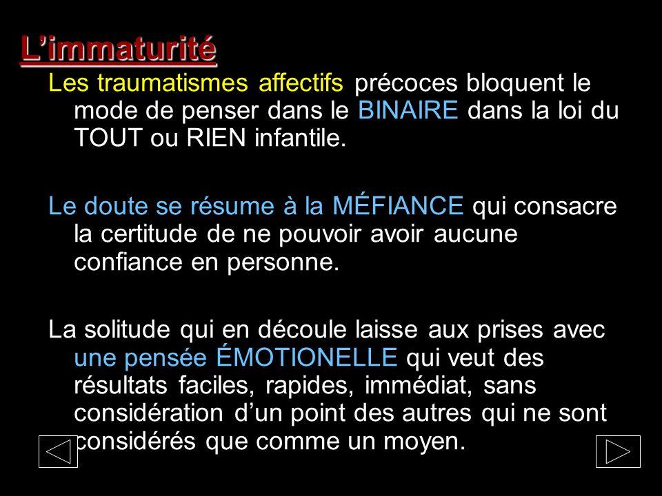 L'immaturité Les traumatismes affectifs précoces bloquent le mode de penser dans le BINAIRE dans la loi du TOUT ou RIEN infantile.