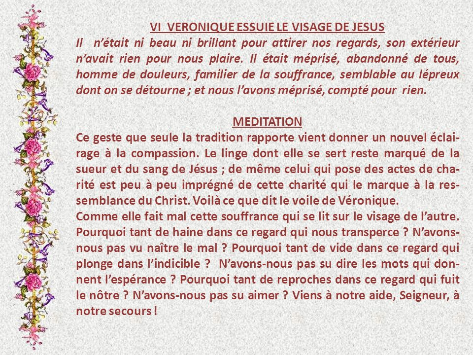VI VERONIQUE ESSUIE LE VISAGE DE JESUS