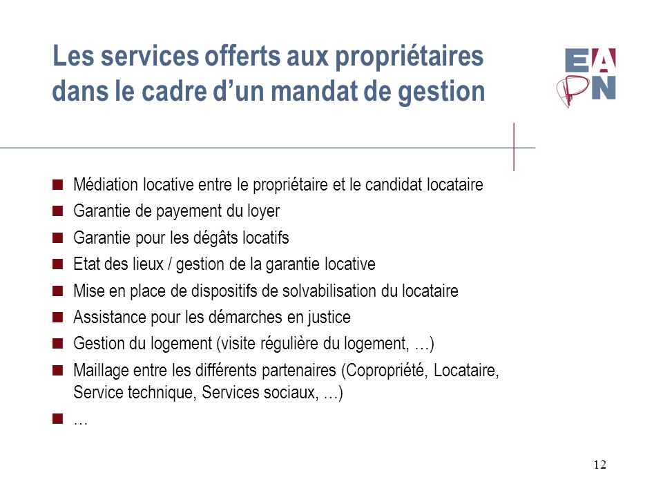 Les services offerts aux propriétaires dans le cadre d'un mandat de gestion