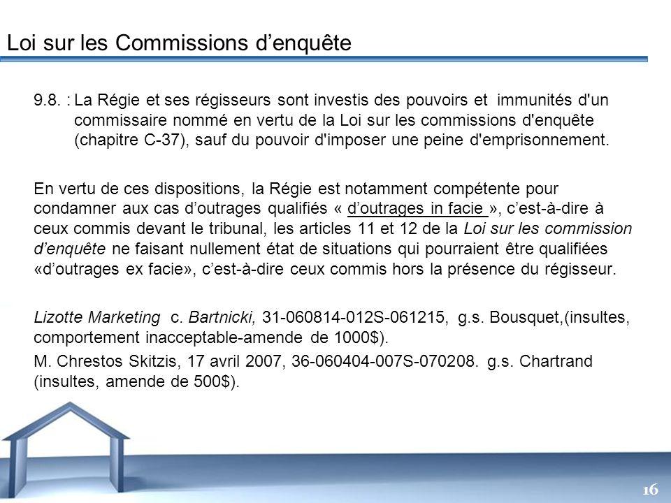 Loi sur les Commissions d'enquête