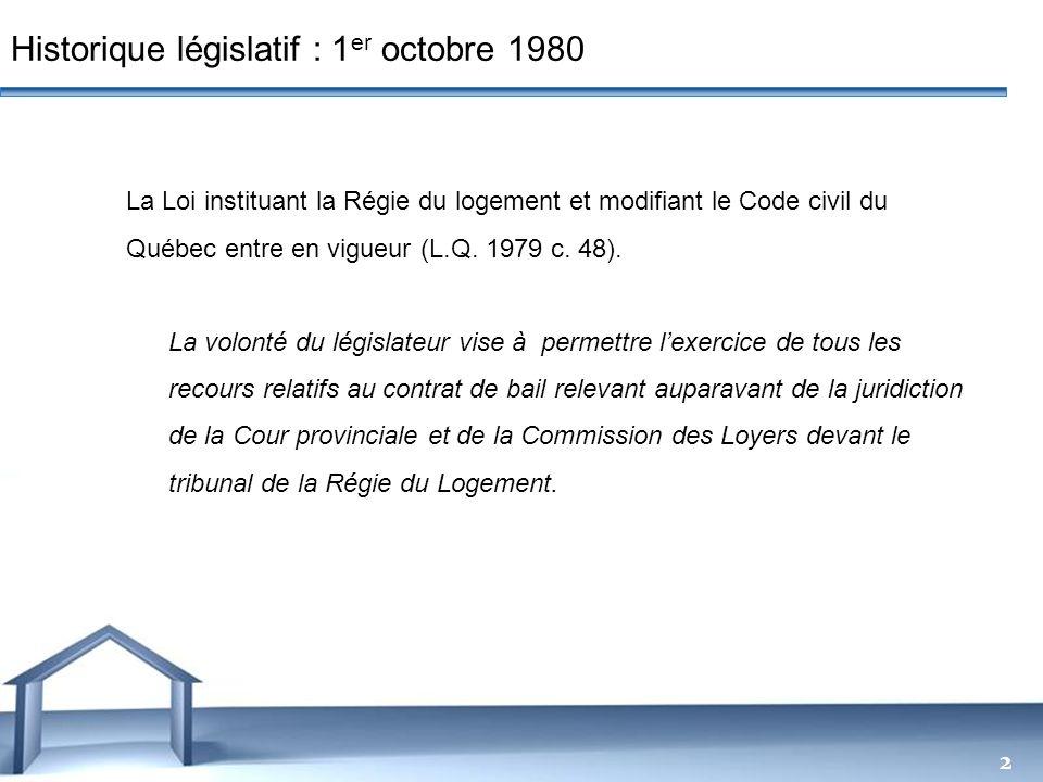 Historique législatif : 1er octobre 1980