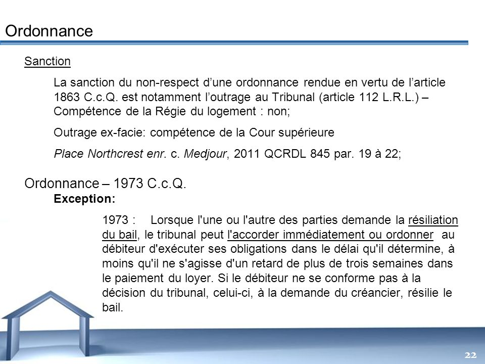 Ordonnance Ordonnance – 1973 C.c.Q. Sanction
