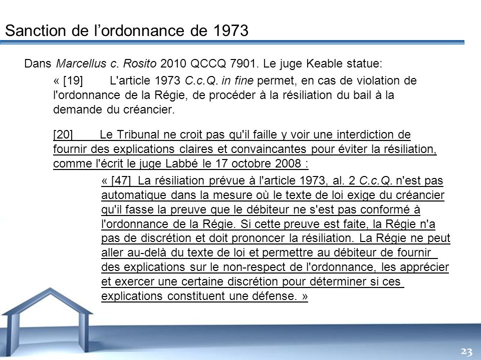 Sanction de l'ordonnance de 1973