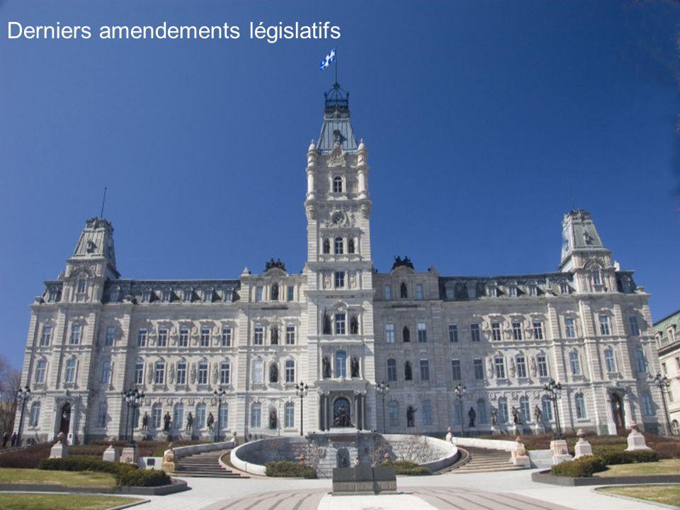 Derniers amendements législatifs