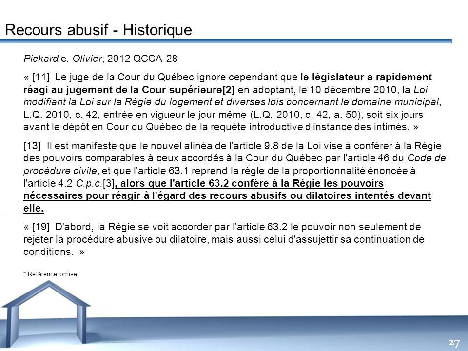 Recours abusif - Historique