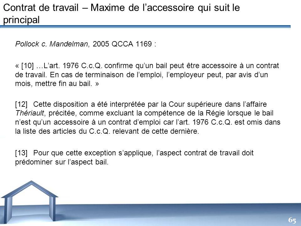 Contrat de travail – Maxime de l'accessoire qui suit le principal