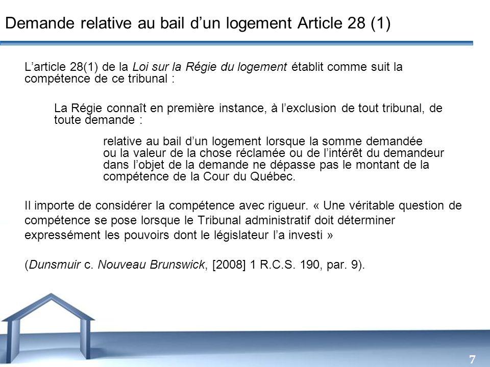 Demande relative au bail d'un logement Article 28 (1)