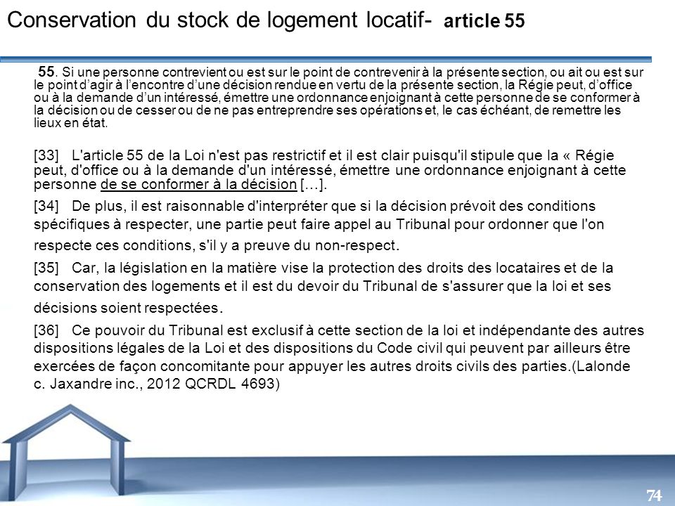 Conservation du stock de logement locatif- article 55