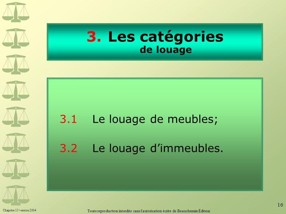 Les catégories de louage
