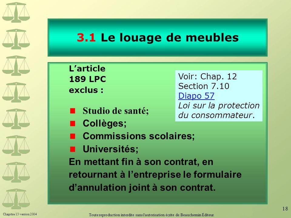 3.1 Le louage de meubles Studio de santé; Collèges;