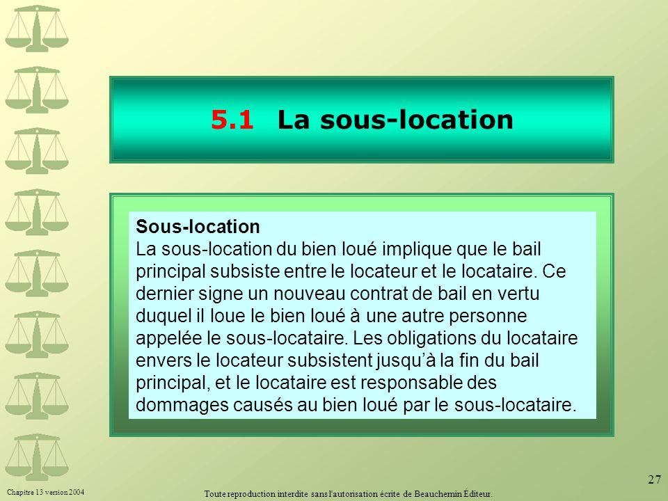 5.1 La sous-location 30.