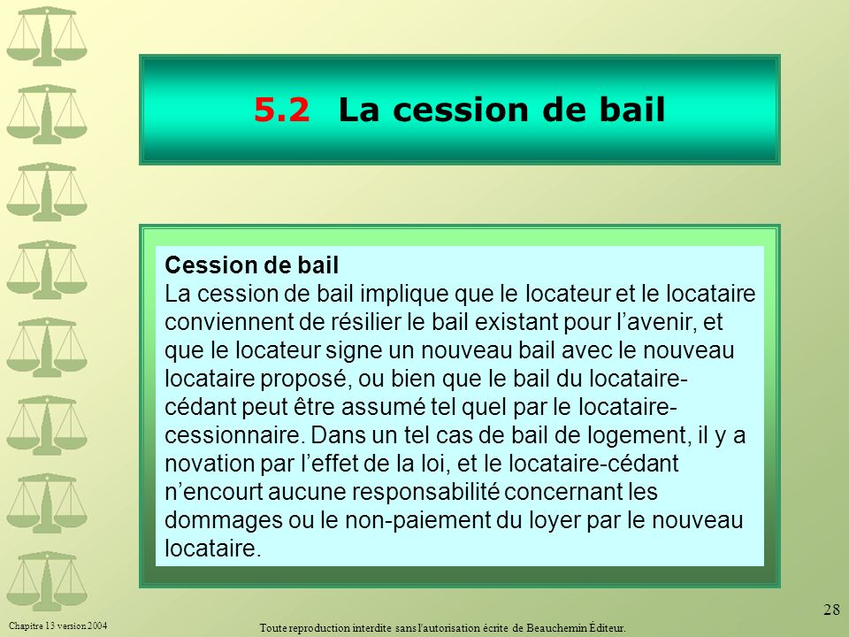 5.2 La cession de bail 30.