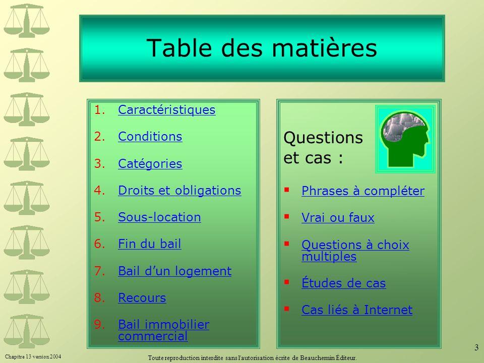 Table des matières Questions et cas : 1. Caractéristiques Conditions