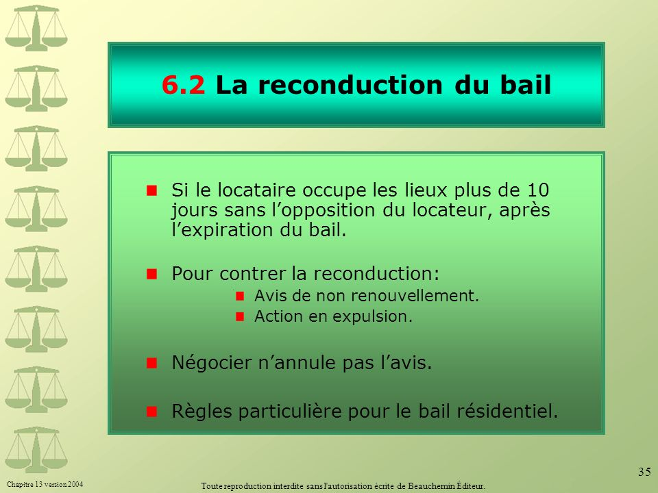 6.2 La reconduction du bail