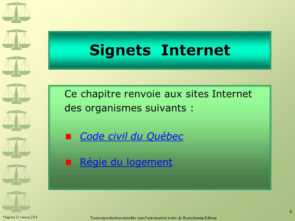 Signets Internet Ce chapitre renvoie aux sites Internet