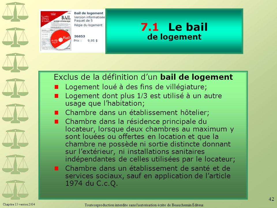 7.1 Le bail de logement Exclus de la définition d'un bail de logement