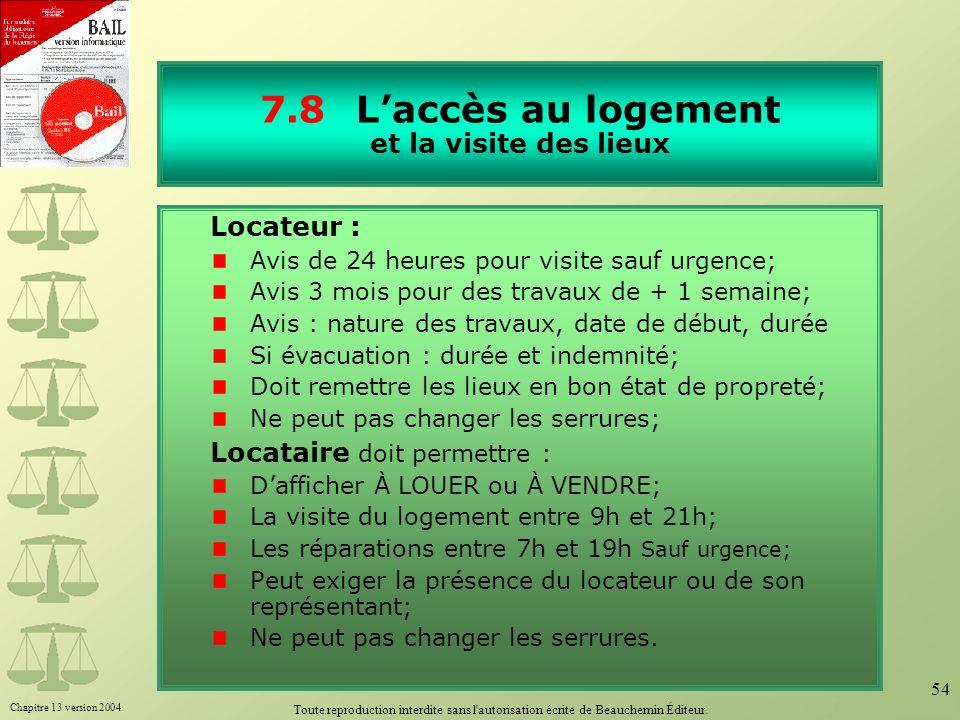 7.8 L'accès au logement et la visite des lieux
