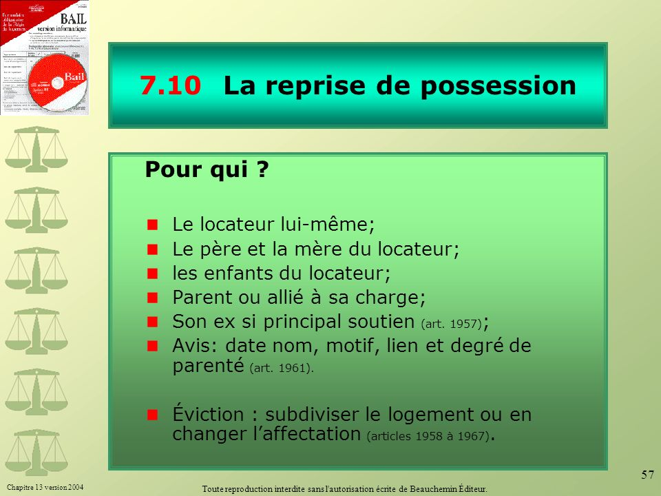 7.10 La reprise de possession