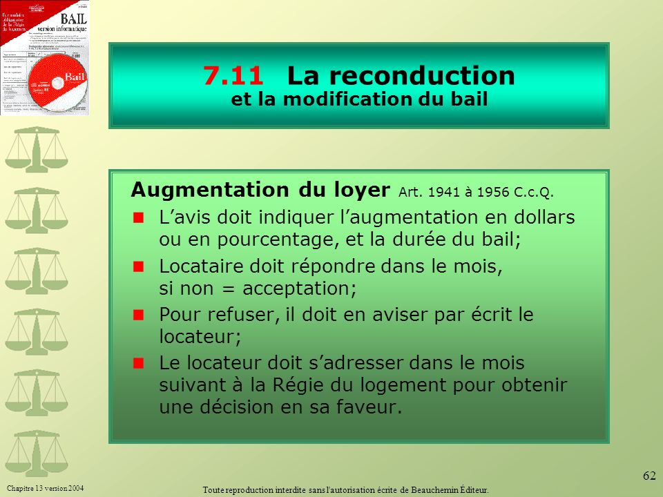 7.11 La reconduction et la modification du bail