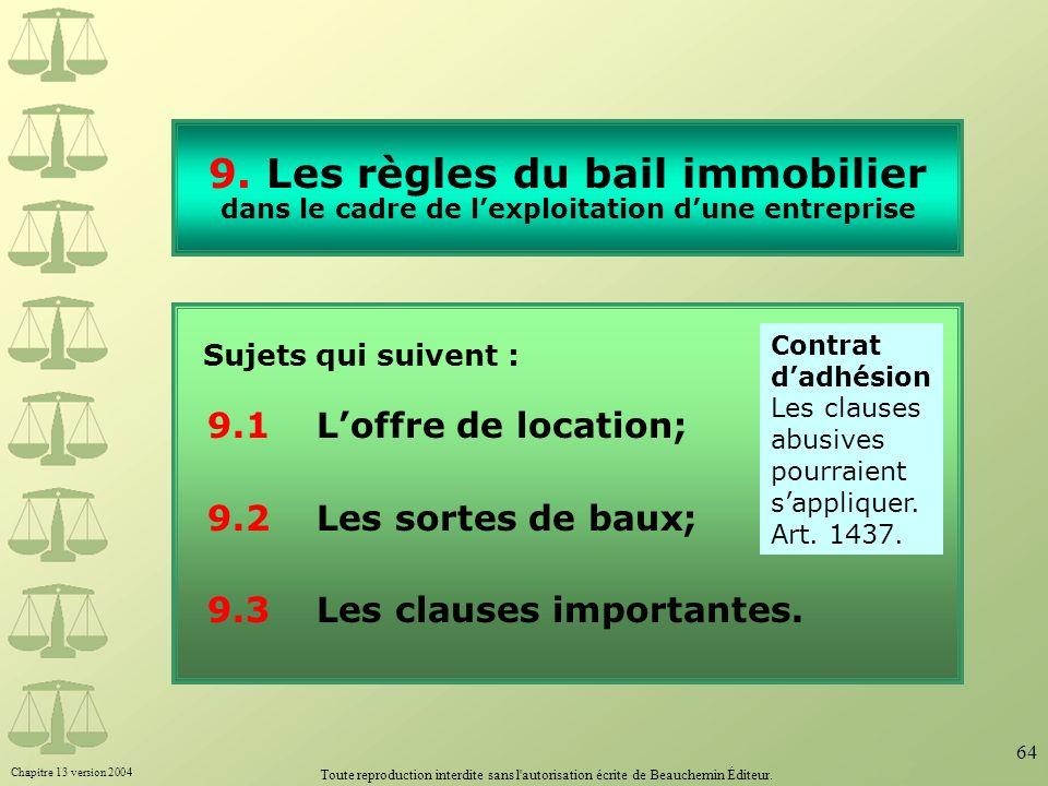 9. Les règles du bail immobilier dans le cadre de l'exploitation d'une entreprise