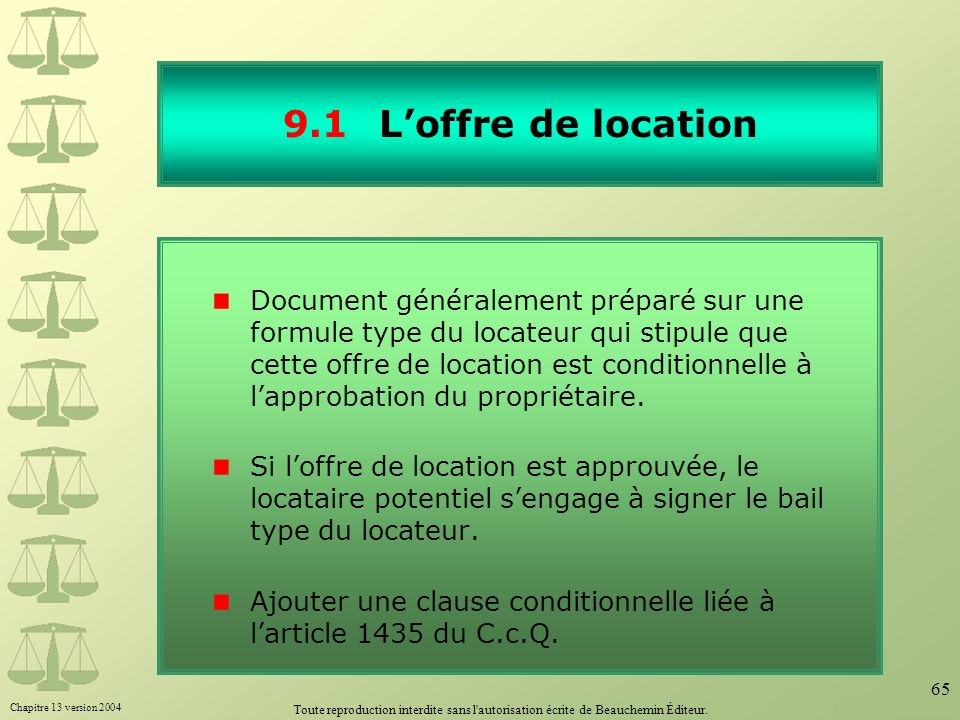 9.1 L'offre de location