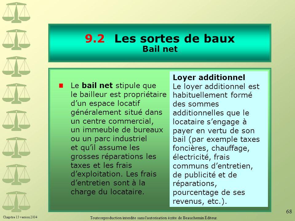 9.2 Les sortes de baux Bail net