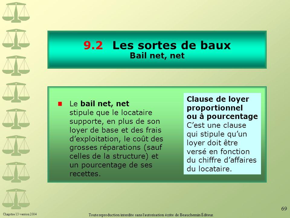 9.2 Les sortes de baux Bail net, net