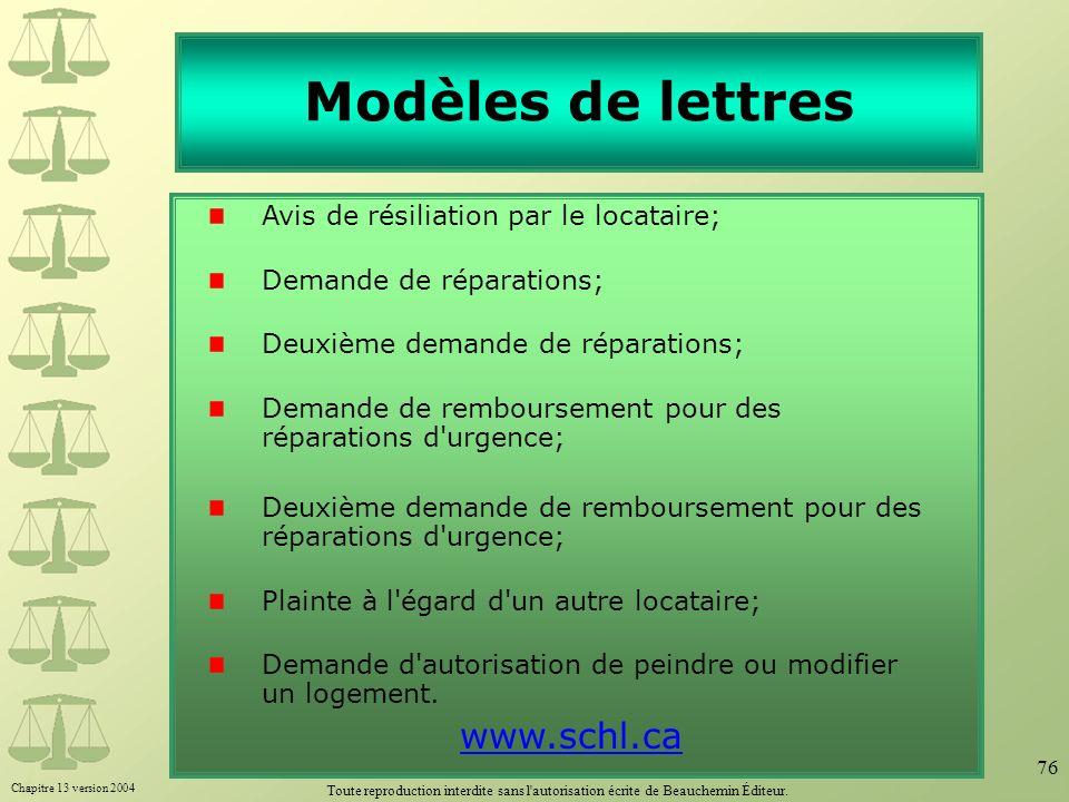 Modèles de lettres www.schl.ca Avis de résiliation par le locataire;