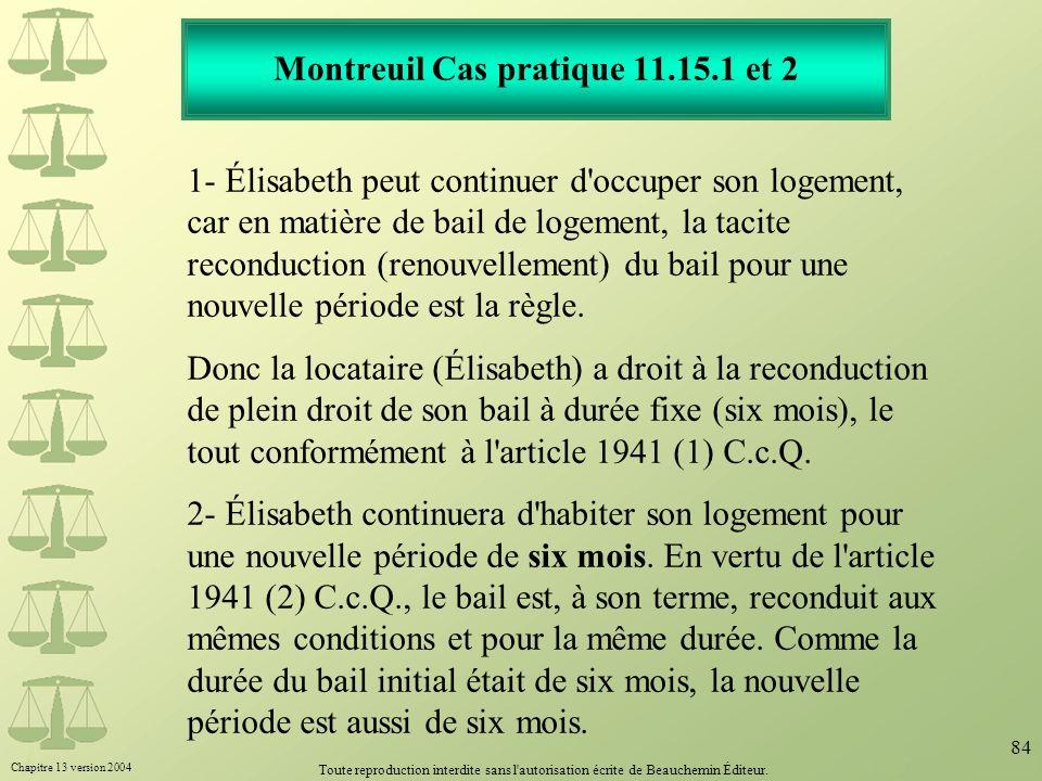 Montreuil Cas pratique 11.15.1 et 2