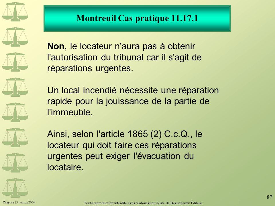 Montreuil Cas pratique 11.17.1