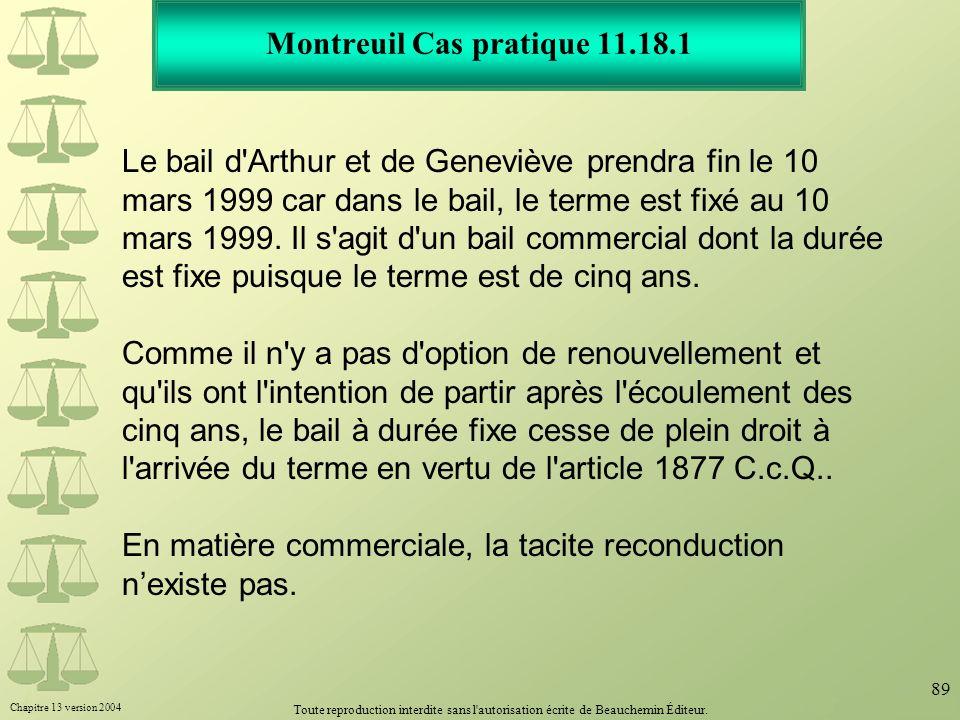 Montreuil Cas pratique 11.18.1
