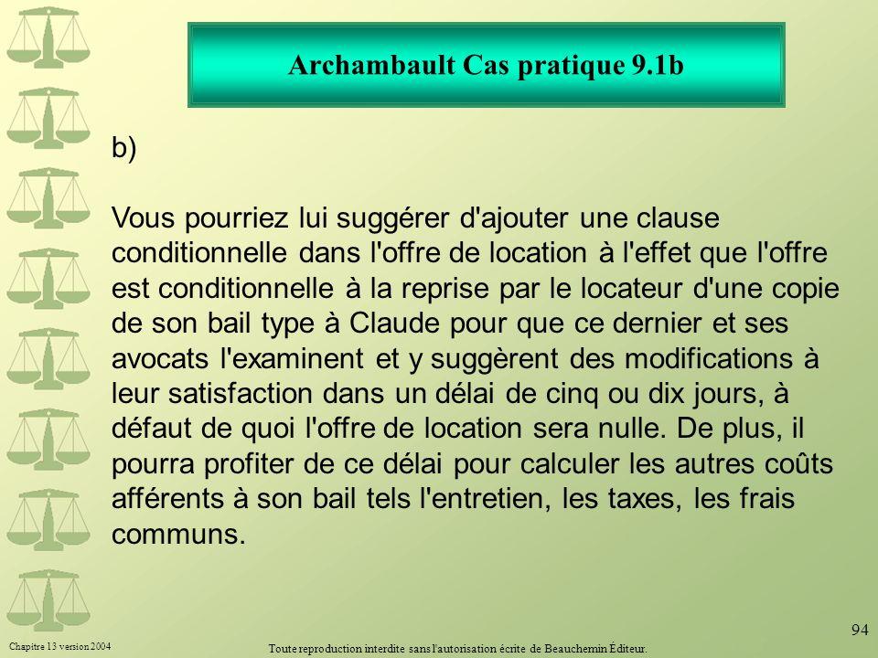 Archambault Cas pratique 9.1b