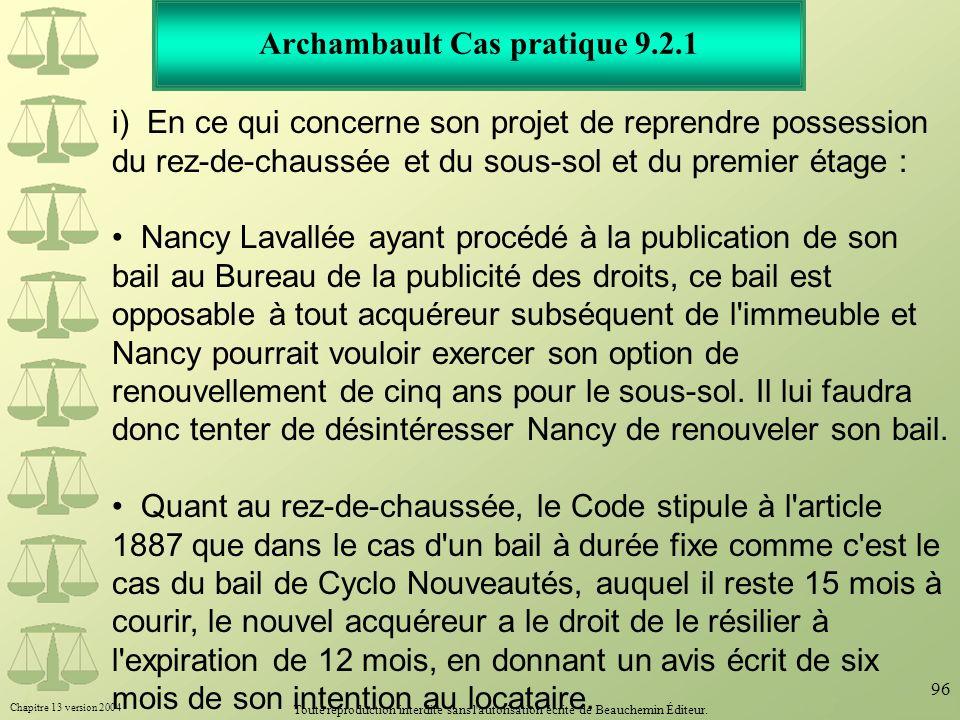 Archambault Cas pratique 9.2.1