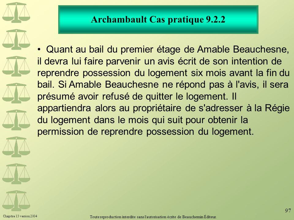Archambault Cas pratique 9.2.2