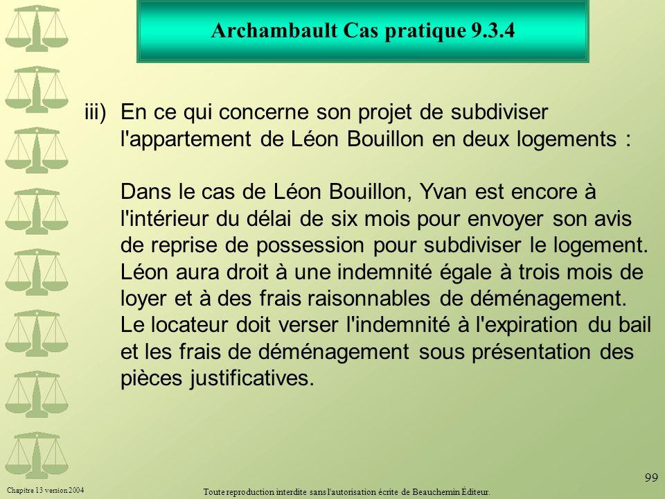 Archambault Cas pratique 9.3.4