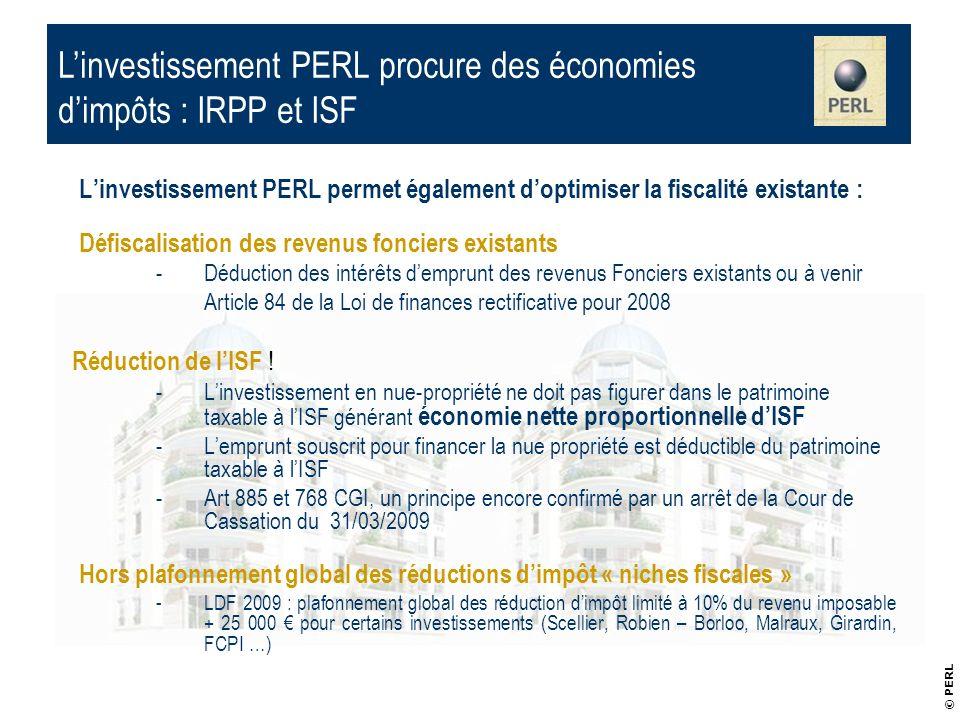 L'investissement PERL procure des économies d'impôts : IRPP et ISF
