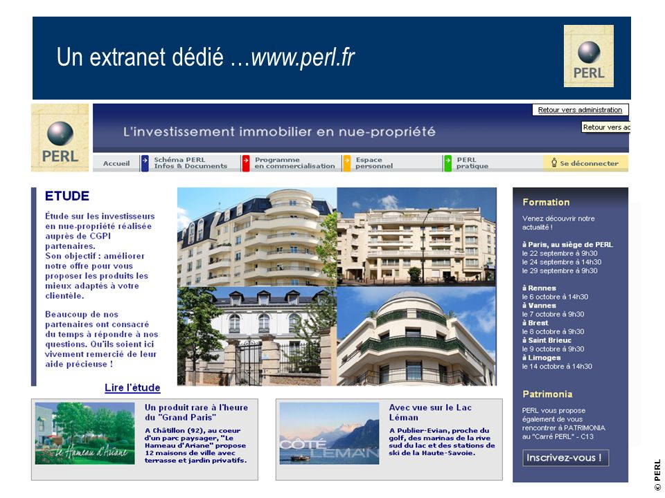Un extranet dédié …www.perl.fr