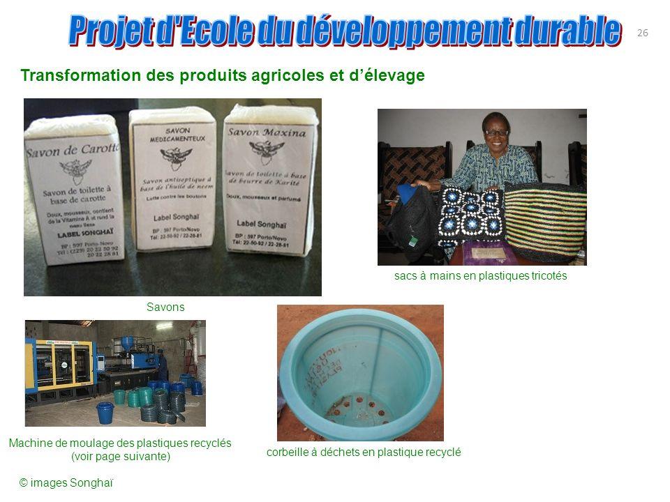 Transformation des produits agricoles et d'élevage