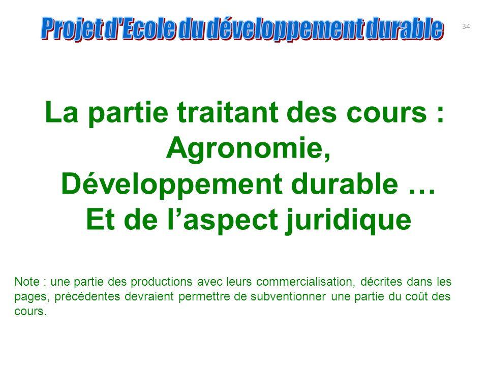 La partie traitant des cours : Agronomie, Développement durable …