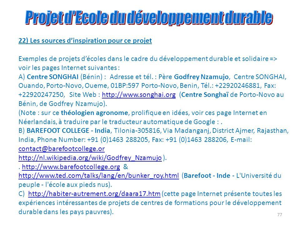 Projet d Ecole du développement durable